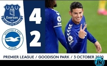 [Highlights] Premier League - Everton 4-2 Brighton | James Rodriguez At The Double!.